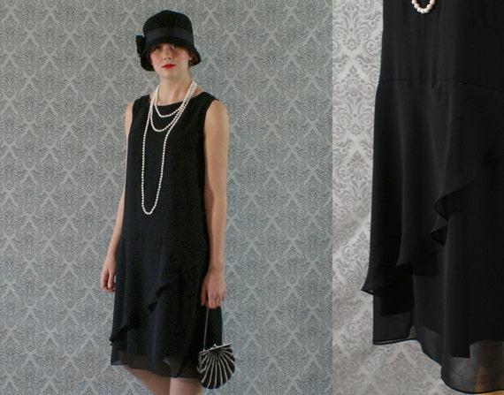 Elegant Black Flapper Dress With Ruffled Skirt Detail Great Etsy