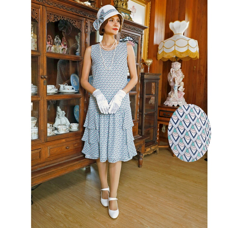 3393c4a8ba2 Lady Mary dress in blue   green with tiered skirt Roaring 20s