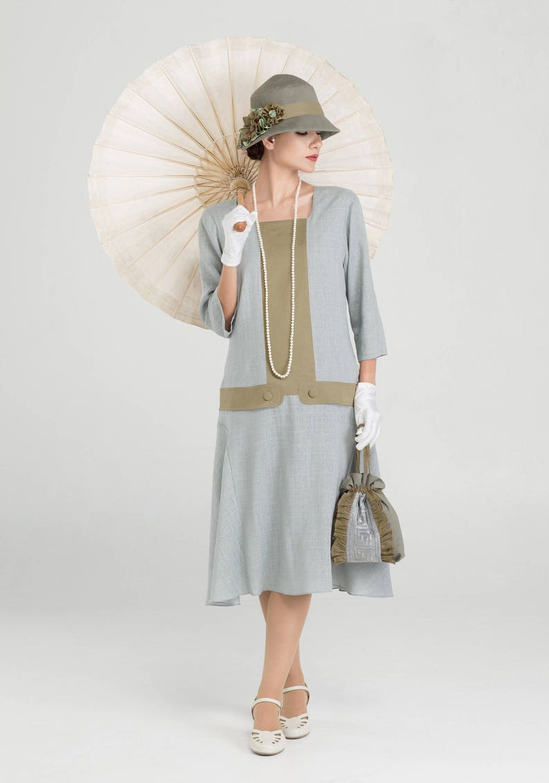 1920s Day Dresses, Tea Dresses, Mature Dresses with Sleeves Great Gatsby linen dress in grey and olive with square neck & 3/4 sleeves 1920s high tea dress Downton Abbey dress 1920s flapper dress LaVieDelight $140.00 AT vintagedancer.com