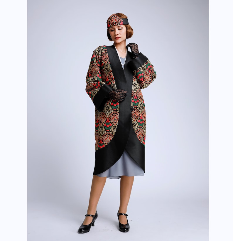 1920s Coats, Furs, Jackets and Capes History Black 1920s silk art deco coat Great Gatsby embroidered silk coat 20s silk art deco jacket 1920s art deco jacket art deco flapper jacket $264.00 AT vintagedancer.com