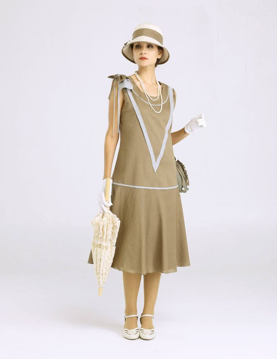 1920s Day Dresses, Tea Dresses, Mature Dresses with Sleeves Sleeveless Great Gatsby dress in olive green & grey 1920s flapper dress 1920s high tea dress Gatsby party dress Downton Abbey tea dress $140.00 AT vintagedancer.com