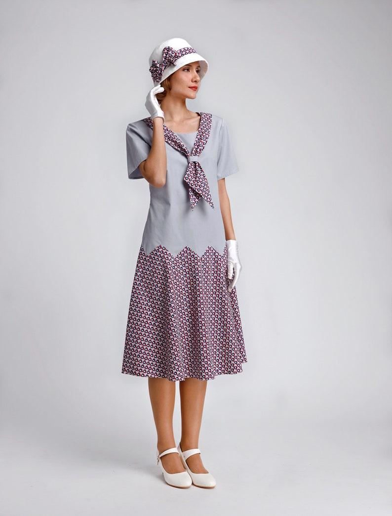1920s Style Dresses, 20s Dresses 1920s garden party dress grey with zig zag seam Great Gatsby dress 1920s tea dress Downton Abbey dress Robe Charleston 1920er kleider $130.00 AT vintagedancer.com
