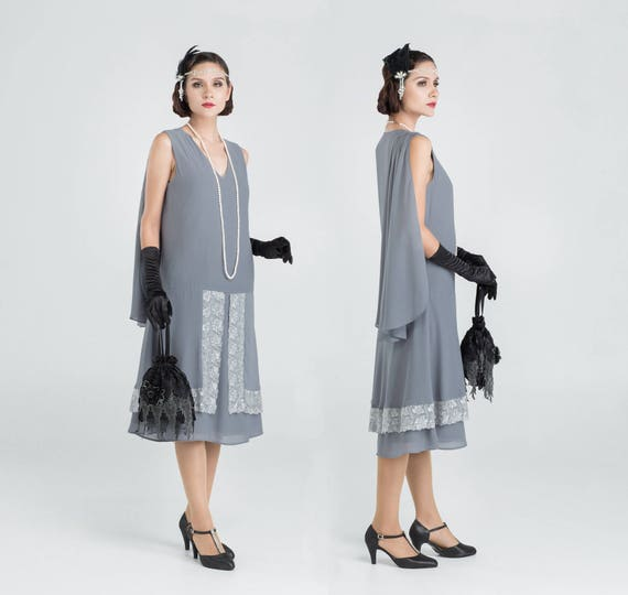 Great Gatsby evening dress in grey and lace trim 1920s   Etsy