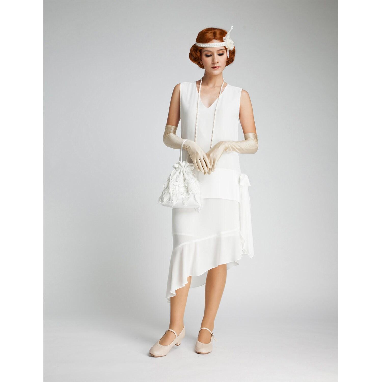 Gatsby Wedding Gown: Off-white Gatsby Dress With Asymmetrical Skirt 1920s