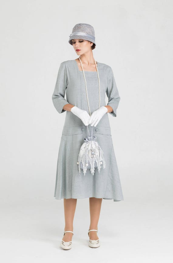 1920s Style Dresses, Flapper Dresses Grey Great Gatsby linen dress with square neck and 3/4 sleeves 1920s day dress Downton Abbey dress Jazz Age lawn party dress $140.00 AT vintagedancer.com