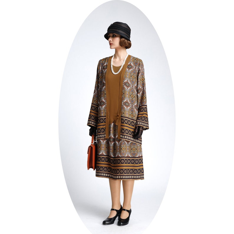 1920s Fashion & Clothing | Roaring 20s Attire 2-piece brown vintage inspired jacket and dress with printed skirt 1920s flapper outfit  two-piece Great Gatsby ensemble robe Charleston $68.00 AT vintagedancer.com
