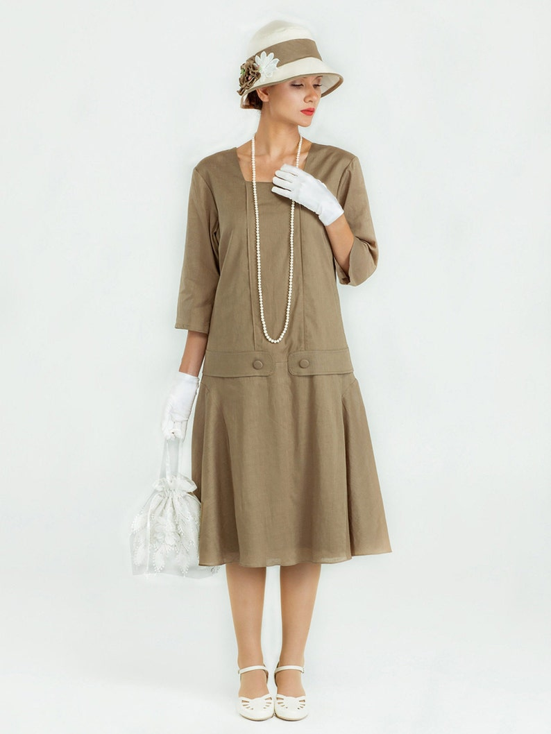 1920s Day Dresses, Tea Dresses, Mature Dresses with Sleeves Great Gatsby linen dress in olive green with square neck and 3/4 sleeves Jazz Age Lawn Party dress 1920s tea dress Downton Abbey dress $112.00 AT vintagedancer.com