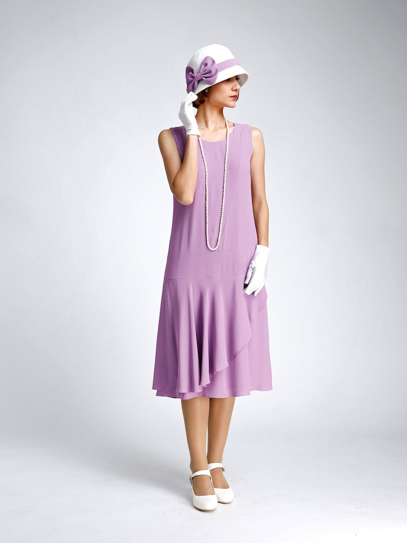 1920s Style Dresses, 20s Dresses Lavender crepe georgette dress 1920s drop waist style with a ruffled skirt detail purple Great Gatsby summer dress 1920s high tea dress $130.00 AT vintagedancer.com