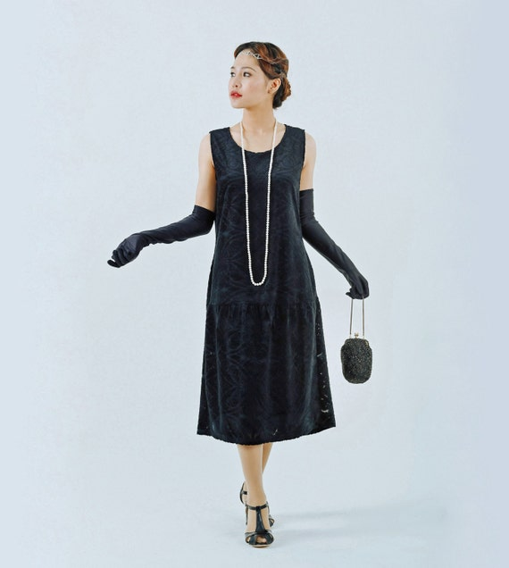 Black Flapper Dress With Burnout Velvet Black Great Gatsby Etsy