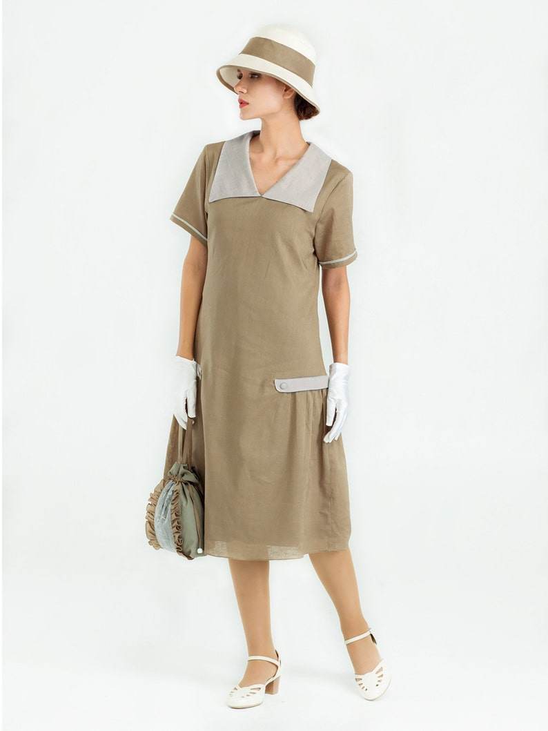 Modest, Mature, Mrs. Vintage Dresses – 20s, 30s, 40s, 50s, 60s Downton Abbey dress in olive and grey linen 1920s day dress green Lady Mary dress Great Gatsby dress robe Charleston 1920er kleider $140.00 AT vintagedancer.com