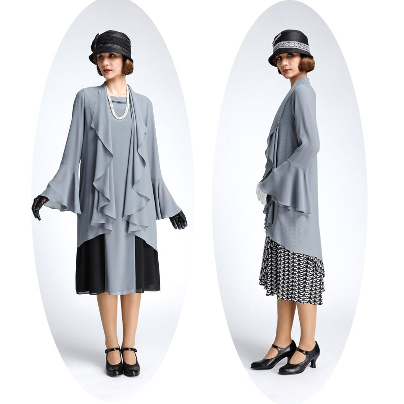 Shawls & Wraps | Fur Stole, Lace, Fringe Grey chiffon cardigan with cascade collar grey Great Gatsby jacket 1920s high tea cardigan grey flapper jacket Downton Abbey jacket $68.00 AT vintagedancer.com