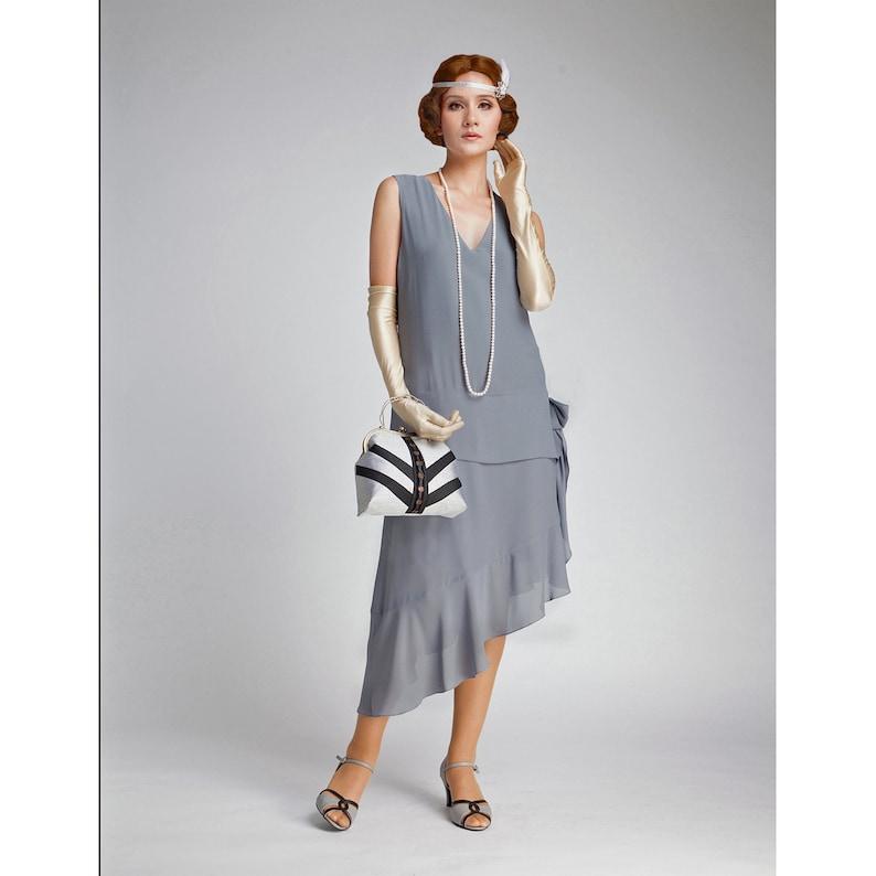 Vintage 1920s Dresses – Where to Buy     Grey Great Gatsby dress with asymmetrical skirt 1920s dress flapper evening dress 1920s formal dress robe années 20 robe charleston $130.00 AT vintagedancer.com