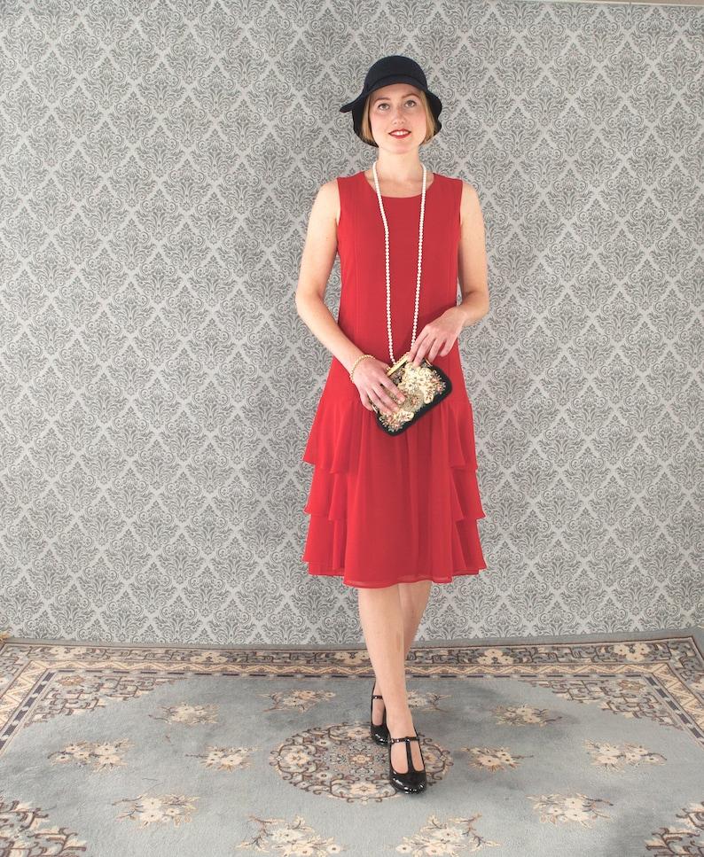 4c904fc7f9b Red chiffon dress with tiered skirt red Great Gatsby dress