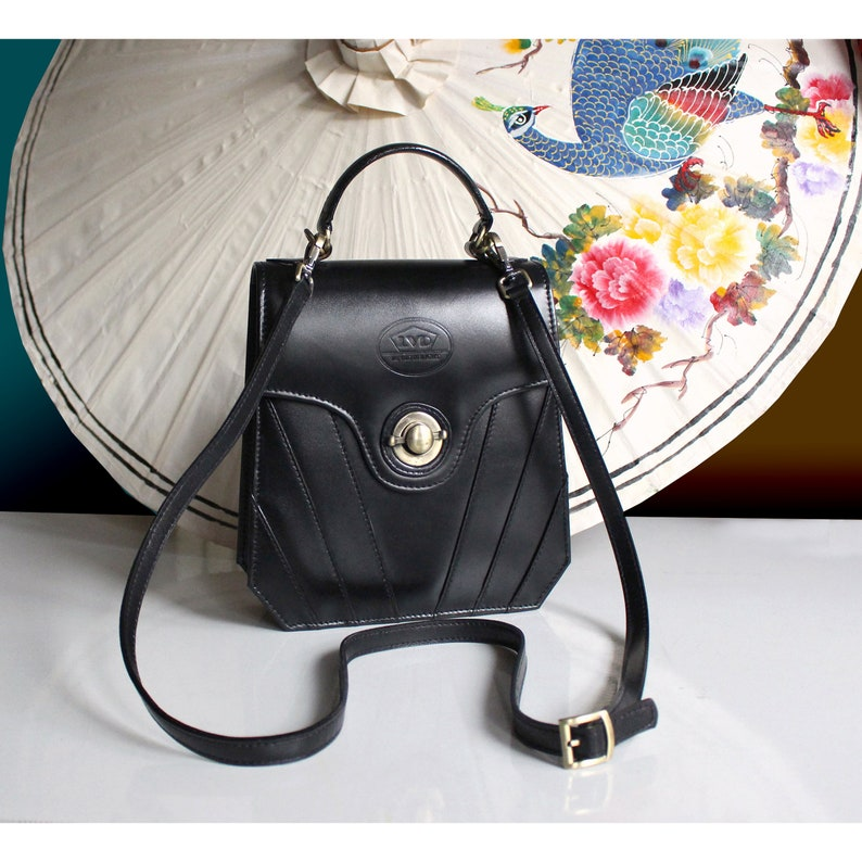 1920s Handbags, Purses, and Shopping Bag Styles Black leather handbag art deco leather purse 20s vintage leather purse black vintage purse 1950s vintage handbag Great Gatsby handbag $87.00 AT vintagedancer.com