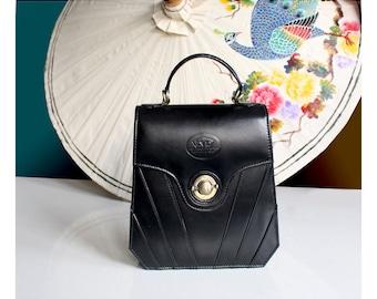 Black leather handbag, art deco leather purse, 20s vintage leather purse, black vintage purse, 1950s vintage handbag, Great Gatsby handbag