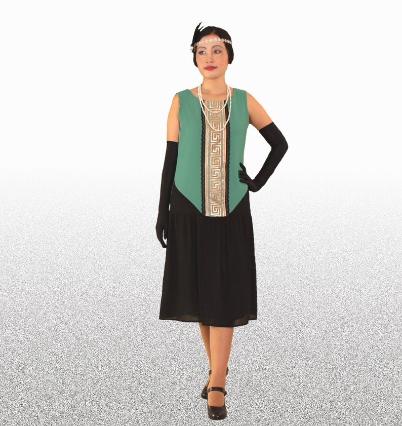 Find Downton Abbey Style Dresses in the UK Black and sea green art deco dress Great Gatsby dress 1920s flapper dress art deco fashion Charleston dress black and green 20s dress $130.00 AT vintagedancer.com