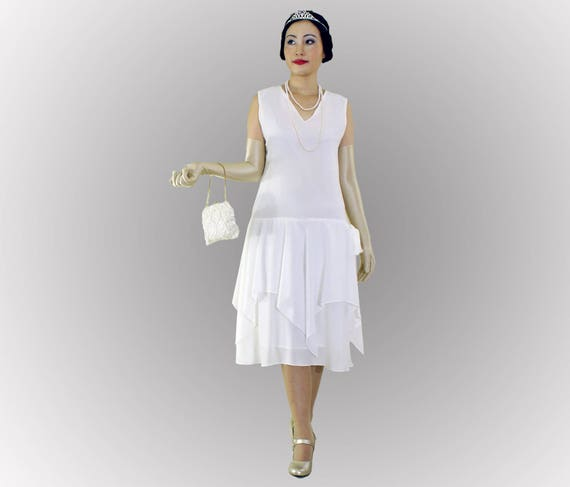 Off White Flapper Dress With Handkerchief Skirt 1920s Etsy
