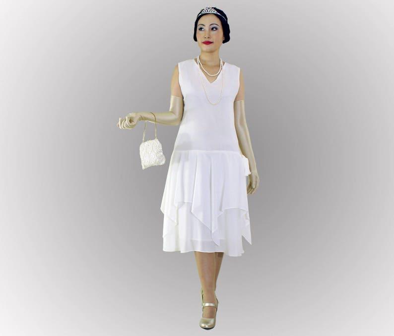 06396bd00201 Off white flapper dress with handkerchief skirt 1920s