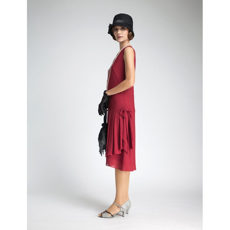 5e0251578a9 Maroon flapper dress with drape and bow 1920s dress Great