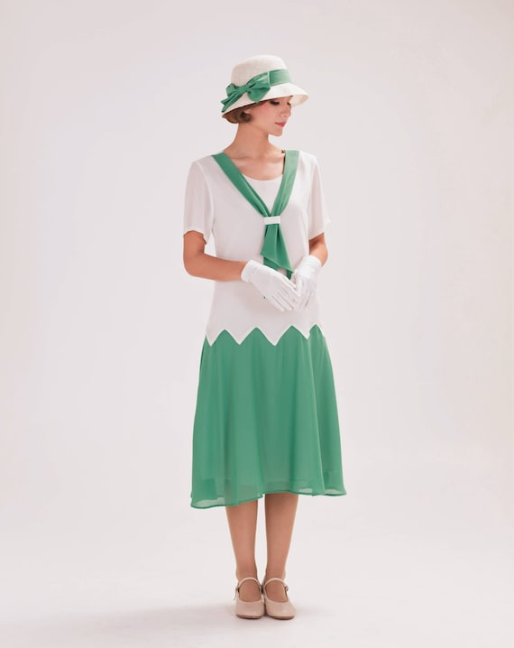Old Fashioned Dresses | Old Dress Styles 1920s inspired dress in off-white and sea green with zig zag details Great Gatsby dress 20s dress Downton Abbey dress robe Charleston $130.00 AT vintagedancer.com