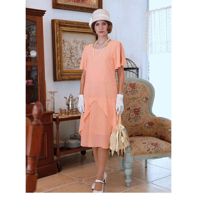 1920s Afternoon Dresses, White Tea Dresses 1920s high tea dress in peach with sweatheart neckline $135.00 AT vintagedancer.com