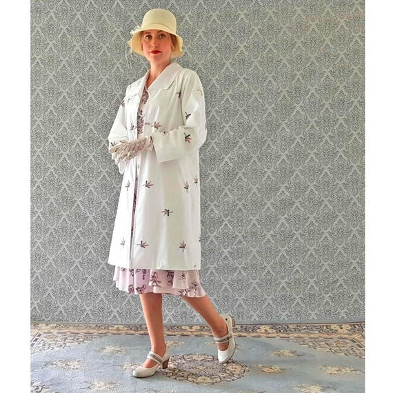 f03e27f1d380 1920s cotton coat in off white and floral emboridery Great