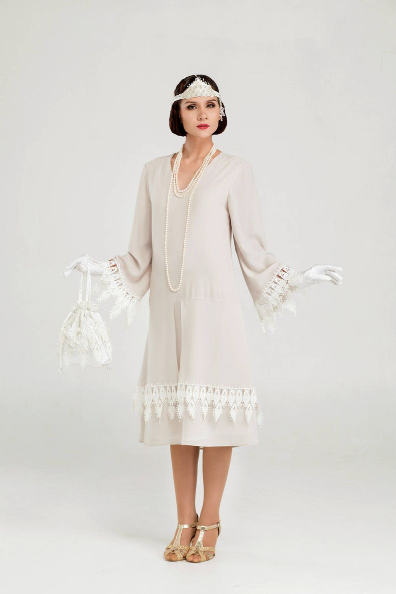 Vintage Inspired Wedding Dresses | Vintage Style Wedding Dresses Roaring Twenties chiffon dress with long sleeves in bleached linen color 1920s flapper dress 20s costume Gatsby dress Downton Abbey $140.00 AT vintagedancer.com
