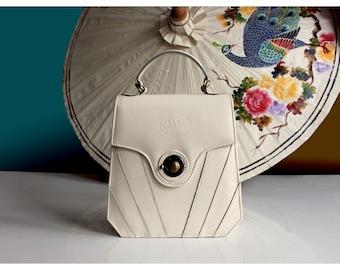 Cream leather purse, art deco leather handbag, 20s vintage leather purse, white leather purse, 1950s vintage handbag, Great Gatsby handbag