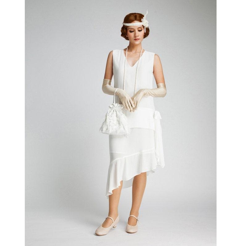 White Flapper Dresses, White 1920s Dresses     Off-white Gatsby dress with asymmetrical skirt  1920s wedding gown Gatsby bridal gown Roaring 20s dress 1920s wedding dress $130.00 AT vintagedancer.com
