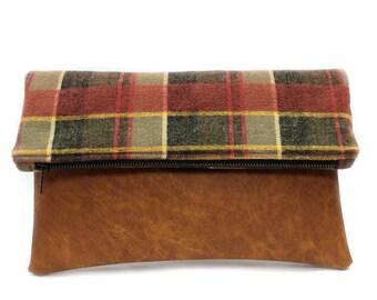 Red Plaid Foldover Clutch Bag, Large Zipper Pouch, Red Fold Over Purse, Large Clutch Bag, Fold Over Zip Clutch, Modern Clutch Purse