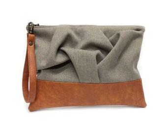 f33ac32d8c Cinturino marrone borsa, Pochette di Vegan, astuccio con cerniera grande,  piccola borsa Boho, frizione con manico, cinturino in cuoio Vegan, ...