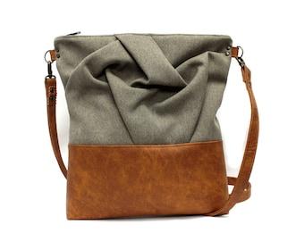 Pine Trees Geometric Pastel Messenger Bag Cross Body Laptop School Work Bag
