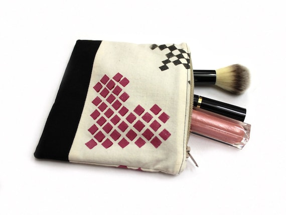 Main pochette estampillé, petit sac à maquillage, porte-monnaie, pochette coeur, pochette noir, porte monnaie coton, Gadget porte, petit sac à maquillage