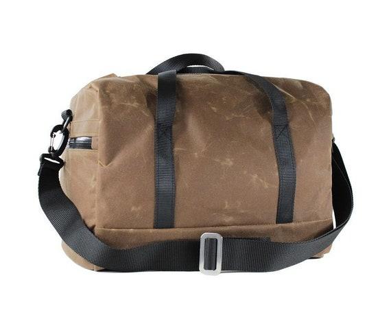 Wax Cotton Weekender Tan Overnight Bag Oilcloth Carryall  51644ac4e221b