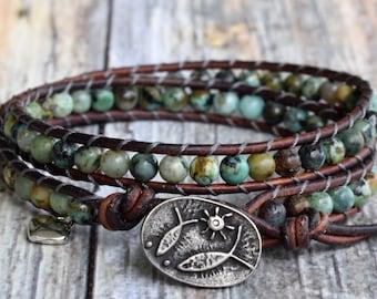 African Turquoise Wrap Bracelet, Beaded Wrap Bracelet, Wrap Bracelet, Leather Wrap Bracelet, Turquoise Wrap Bracelet, Beaded Turquoise Wrap