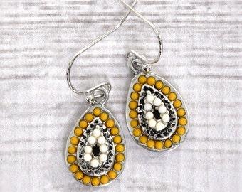 Teardrop Earrings, Golden Yellow Earrings, Mustard Earrings, Silver Earrings, Boho Earrings