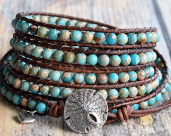 Turquoise Wrap Bracelet, Wrap Bracelet, Beaded Wrap Bracelet, Leather Wrap Bracelet, Beaded Leather Wrap Bracelet, by Bluefish Bohemian