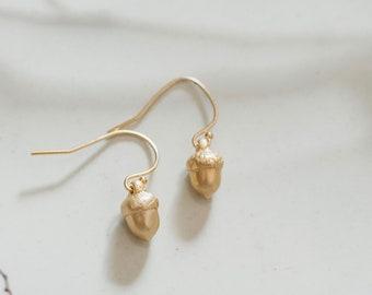 Dainty Gold Acorn Earrings, Acorn Earrings, Gold Acorn Earrings, Woodland Jewelry, Gold Filled Ear Wires