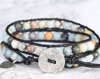 Amazonite Wrap Bracelet, Boho Wrap, Gemstone Leather Bracelet, Bracelet Wrap, Beaded Leather Wrap, Beaded Wrap Bracelet