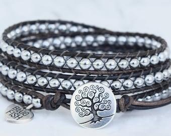 Silver Wrap Bracelet, Beaded Leather Wrap, Wrap Bracelet, Silver Beaded Wrap, Silver Tree of Life Button, Boho Wrap Bracelet