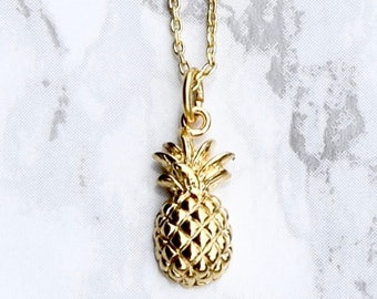 Pineapple Necklace, Pineapple Pendant, Gold Pineapple Necklace, , Gold Pineapple Pendant, Gold Necklace, Layering Necklace