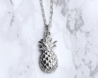 Pineapple Necklace, Pineapple Pendant, Silver Pineapple Necklace, , Silver Pineapple Pendant, Silver Necklace, Layering Necklace