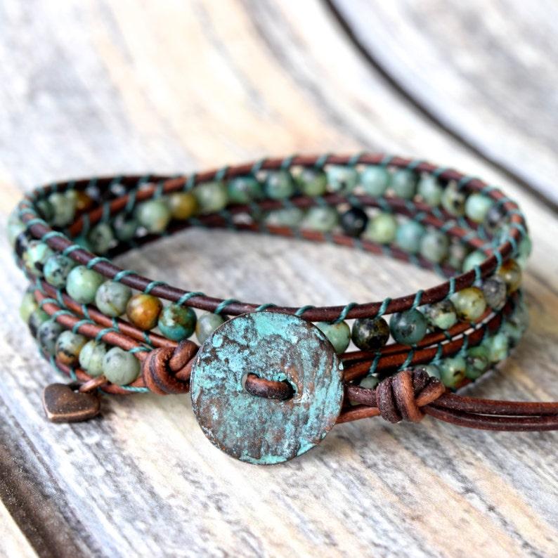 African Turquoise Wrap Bracelet Wrap Bracelet Turquoise image 1