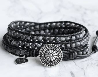 Black Wrap Bracelet, Leather Wrap Bracelet, Wrap Bracelets, Black Beaded Wrap, Black Leather Wrap, Leather Bracelet Black