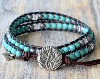 Wrap Bracelet, Turquoise Wrap Bracelet, Leather Wrap Bracelet, Boho Bracelet, Boho Jewelry, Boho Wrap Bracelet, Beaded Wrap Bracelet