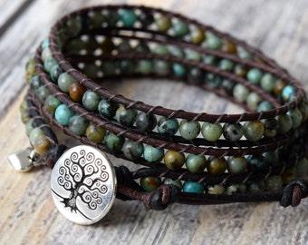 African Turquoise Wrap Bracelet, Beaded Wrap Bracelet, Boho Wrap Bracelet, Bracelet Wrap, Leather Wrap
