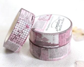 0,60 EUR per m / Washi Tape, Decoration tape, Washitape - Pink Ephemera