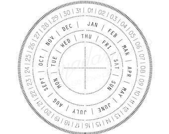 Stamp - Perpetual calendar stamp, perpetual circle date, date stamp, calendar stamp, tracker stamp, planner stamp, yearly stamp