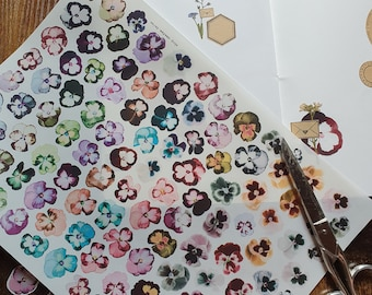 Stickersheet, Sticker, Seals, label - Pansy collection Vol. 1, 112 flowers on transparent foil