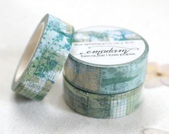 0,60 EUR per m / Washi Tape, Decoration tape, Washitape - Blue Ephemera